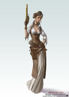 This is sort of the feel I want... this sort of Firefly/Victorian/Badass look.    Princess Leia by Bjorn Hurri (Work in Progress)