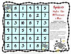 Spiders Math Games Addition and Subtraction from Games 4 Learning is a collection of 7 Math Board Games with a Spiders theme.