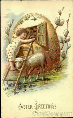 little lamb vintage easter card