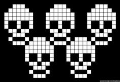 Learn to make your own colorful bracelets of threads or yarn. Crochet Skull Patterns, Animal Sewing Patterns, Alpha Patterns, Cross Stitching, Cross Stitch Embroidery, Cross Stitch Patterns, Halloween Cross Stitches, Halloween Quilts, Cross Stitch Skull