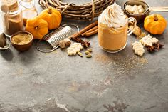 Pumpkin spice latte in a glass mug with cinnamon, nutmeg and cookies , Pumpkin Spice Latte, Moscow Mule Mugs, Cinnamon, Alcoholic Drinks, Vitamins, Spices, Tableware, Glass, Icons