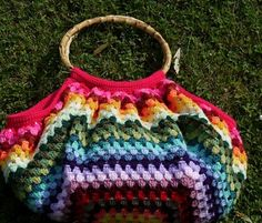 Colourful Striped Crochet Bag