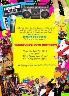 eighties Birthday party invitation 80s Birthday Parties, 50th Birthday Party, 80th Birthday Invitations, 80s Theme, Retro Party, Animal Party, Party Ideas, Theme Ideas, 80s Characters