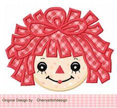Vintage Raggedy Ann Digital Applique -4x4 5x7 6x10-Machine Embroidery Applique Design via Etsy