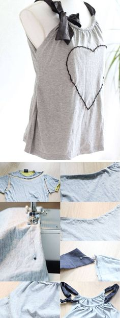 Refashion a mans tshirt into a cute summer top click pic for 25 simple life Diy Clothes To Sell, Diy Clothes Jackets, Diy Clothes Hangers, Diy Summer Clothes, Diy Clothes Refashion, Diy Clothes Videos, Shirt Refashion, Clothes Crafts, T Shirt Diy