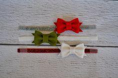 Christmas Set of Three Mini Wool Felt Bow Elastic Headbands for Women, Babies and Girls