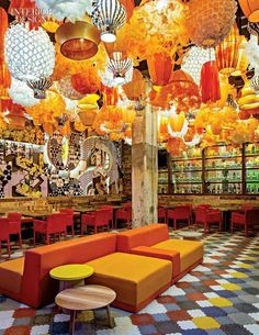 Bright restaurant near our studio in Barcelona