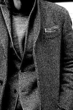 layering Grey jacket, Shades of Herringbone, men's fashion Sharp Dressed Man, Well Dressed Men, Looks Style, My Style, Look Fashion, Mens Fashion, Mode Lookbook, Mode Costume, Retro Mode