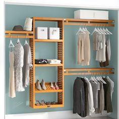 John Louis Home W - Deep Solid Wood Simplicity Closet System Finish: Red Mahogany Hanging Closet, Hanging Shelves, Glass Shelves, Closet Storage, Closet Organization, Organization Ideas, Closets Pequenos, Apartment Hacks, Diy Wardrobe