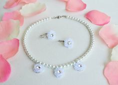 flower girl jewelry set necklace and earrings glass by sestras