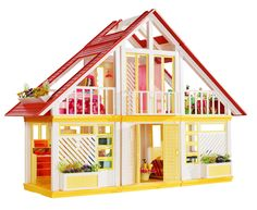 Barbie Dream House 1979    For a while, Barbie lived in an A-frame cottage in bright yellow, red and orange hues. She was apparently really into gardening at the time as well.This was my daughter's