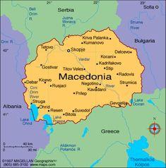 map of Macedonia Macedonia Map, Macedonia Skopje, Albania, Bulgaria, Antigua Yugoslavia, Republic Of Macedonia, Europe Continent, Country Maps, Eastern Europe