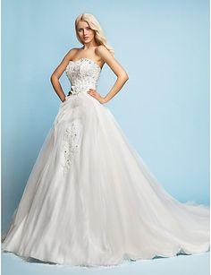 A-line/Princess de trem Sweetheart Tribunal Tulle Vestido de Noiva - BRL R$ 605,59
