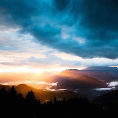 Sundown in the alps, seen from the Have a great weekend folks! Mountain S, Bavaria, Alps, Austria, Tourism, Folk, Germany, Celestial, Sunset