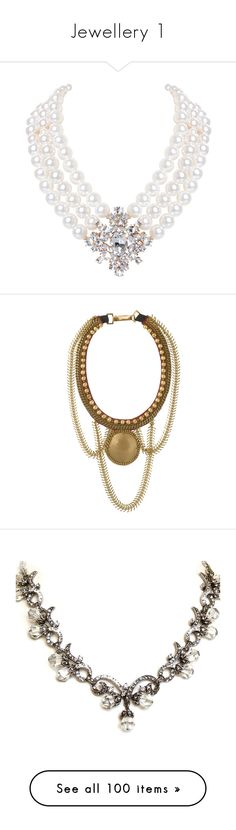 """Jewellery 1"" by sirius-james-remus ❤ liked on Polyvore featuring jewelry, necklaces, accessories, pearls, diamond cz statement necklace, pearl jewellery, bubble necklace, layered necklace, gold tone chain necklace and statement necklaces"