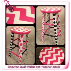 Chevron and polka dot teacher stool! The top of the stool is coated with three coats of sparkle mod podge. I first spray painted the stool with a paint/primer. I then taped the chevron pattern. I used foam sponges to make the dots and touched them up by h Classroom Displays, Classroom Themes, Classroom Organization, Classroom Crafts, Chevron Classroom, Classroom Design, Kindergarten Classroom, School Classroom, Future Classroom