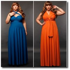 Monif C Plus Size Clothing - Marilyn Long Convertible Dress 20 - Peacock Blue AND Marilyn Long Convertible Dress 20 - Tangerine. ***links are no longer active, but they are both convertible dresses*** Multiway Bridesmaid Dress, Infinity Dress Bridesmaid, Bridesmaid Dresses Plus Size, 21st Dresses, Plus Size Dresses, Plus Size Outfits, Dress Outfits, Fashion Dresses, Infinity Dress Ways To Wear