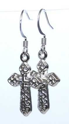 Silver plated Cross Earrings. Lovely..