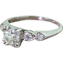 Art Deco 1.09 Carat Old Cut Diamond Engagement Ring, circa 1925