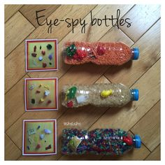 Eye-spy bottles. Filled with little things.