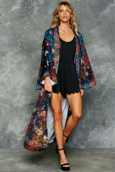 The Swan Kimono is so named because it's pretty much designed for the act of swanning around. Whether you do your swanning at home or out on the town, this is a statement Black Milk Clothing, Size Clothing, Invisibility Cloak, Kimono Outfit, Long Kimono, Stockings Lingerie, My Black, Dress Up, Womens Fashion