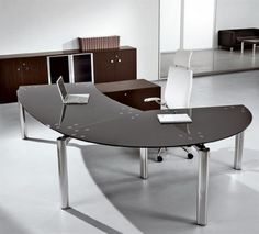 Furniture. Remarkable Curved Office Desk Furniture Designs. Excellent Curve Shape Desk Furniture Come With Grey Colortable Top And White Wheeled Chair Plus Stainless Steel Desk Legs