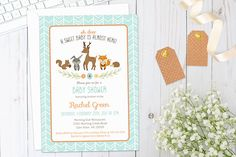 This adorable woodland theme baby shower invitation set will be the perfect way to announce the upcoming celebration to your guests! This listing is for the PRINTED items and may include any combination of the invite, book request card, and diaper raffle ticket. Your order will