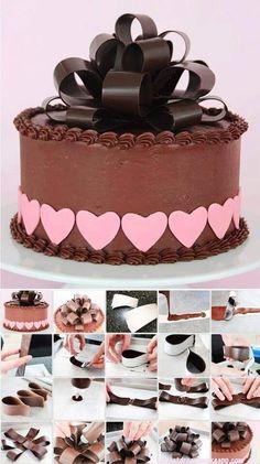 Chocolate cake with amazing chocolate bow Cake Decorating Techniques, Cake Decorating Tutorials, Cookie Decorating, Chocolate Work, Chocolate Cake, Cake Cookies, Cupcake Cakes, Fondant Cakes, Patisserie Fine