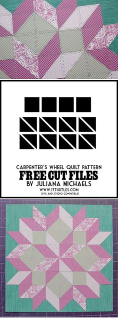 Free 'Carpenter's Wheel Quilt' cut files #Silhouette http://www.17turtles.com/2013/05/little-yellow-bicycle-quilt-pattern.html