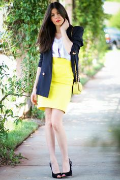 another cute way to wear a yellow pencil skirt!