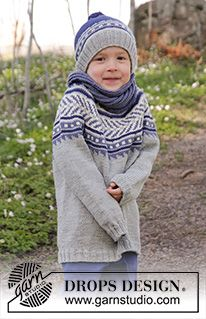 """Little Adventure Set - Set consists of: Knitted DROPS hat with multi-coloured pattern and pompom in """"Merino Extra Fine"""". Knitted DROPS neck warmer with twist and English rib in """"Merino Extra Fine"""". Size 3 - 12 years - Free pattern by DROPS Design Knitting Patterns Boys, Jumper Patterns, Drops Patterns, Knitting For Kids, Crochet Patterns, Fair Isle Knitting, Knitting Yarn, Free Knitting, Baby Knitting"""