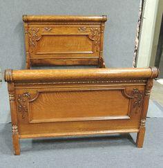 Oak Carved Antique Bed #antique #oak #bed #auction