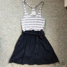 Abercrombie & Fitch Dress White and grey top half with navy blue bottom half. Abercrombie & Fitch Dresses