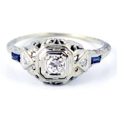 18K Antique Art Deco Diamond Sapphire Filigree by laurenrosedesign, $348.00