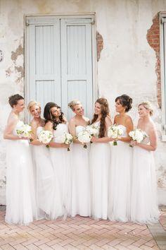 White bridesmaids' dresses: http://www.stylemepretty.com/2015/08/26/elegant-race-religious-wedding/   Photography: Greer G - http://www.greergattuso.com/