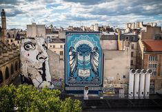 Shepard Fairy(R) & Jef aerosol((L) at Place Igor Stravinsky in 2019 Yarn Bombing, Shepard Fairy, Facing The Giants, Shepard Fairey Obey, Les Stickers, Paris Street, Street Artists, Banksy, Graffiti Art