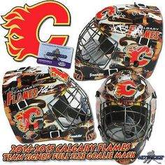 2014 - 2015 CALGARY FLAMES Team Signed FULL SIZE GOALIE MASK - Autographed NHL Helmets and Masks *** You can get more details by clicking on the image.