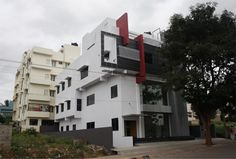 Distance view of Front Elevation - for Nalini's Commercial Complex by Ashwin Architects in Bangalore.    Call (+91)-(80)-26612520 for more information or visit http://www.ashwinarchitects.com