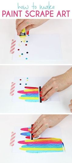 Scrape Notecards - DIY Art Project Idea How to make paint scrape art notecards. Fun and simple DIY art project idea for kids.How to make paint scrape art notecards. Fun and simple DIY art project idea for kids. Easy Crafts For Teens, Diy And Crafts, Kids Diy, Paper Crafts, Wood Crafts, Crafts Cheap, Art Ideas For Teens, Fun Easy Crafts, Art Crafts