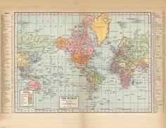 World map printable digital by AntiqueDigitalPrint on Etsy - # World Map Poster, Old World Maps, World Map Wall Art, Old Maps, Antique Maps, Vintage World Maps, Map Vintage, World Map Printable, Map Crafts