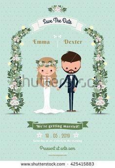 Hipster Wedding Invitation Card Bride Groom Cartoon Beach Theme On Polka Dot Background
