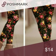 {LAST PAIR} Black•Floral•Print Elastic waist band (not like a yoga waist band). 92%Polyester 8%Spandex. Very soft fabric! Fits up to a Size 12 comfortably! This is a thicker fabric. It is not sheer like tights. These hold their shape well. I personally own several pairs of these and would say they are comparable to the ever famous LuLaRoe leggings (of which I own over 10 pairs). Pic 3 gives an idea of the style of waist band. Infinity Raine Pants Leggings