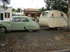 Retro car & camper caravan trailer