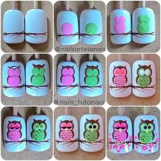Nail Art Designs In Every Color And Style – Your Beautiful Nails Owl Nail Art, Owl Nails, Animal Nail Art, Cute Nail Art, Cute Nails, Pretty Nails, Minion Nails, Owl Nail Designs, Painted Nail Art