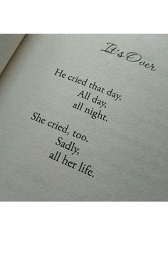 The night I moved out, he cried for a few minutes and was done. I cried, however, MY tears never stopped. His were over in that moment.