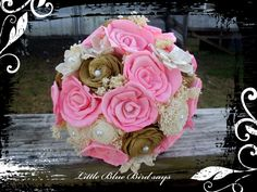 Rustic bridal bouquet pink and gold sola by LittleBlueBirdSays
