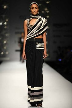 2120f3ba08c Black striped saree and hooded blouse
