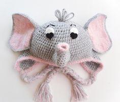 Delightfully Adorable Crochet Elephant Earflap by CrochetFun4Kids, $35.00
