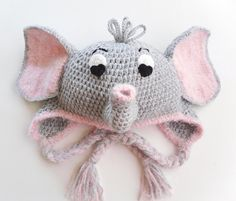 Inspiration~Delightfully Adorable Crochet Elephant Earflap Hat