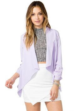 Get ready to get featured on street style blogs! A soft, draped blazer with a flyaway open front, long sleeves with ruched trim, and a reverse high-low hem. $23.50